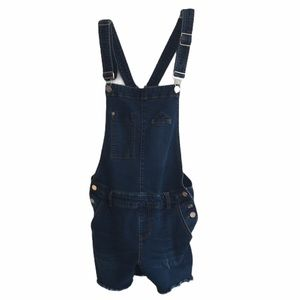 Indigo Rein Dark Wash Denim Overall Shorts